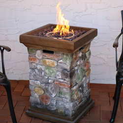 Cast Rock Column Design Propane Gas Fire Pit