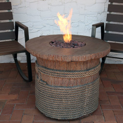 Rope and Barrel Design Propane Gas Fire Pit Table