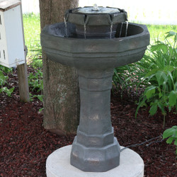 2-Tier Flowing Citadel Birdbath Fountain