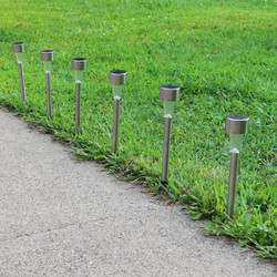 Set of 6 Outdoor Solar Landscape Path Lights at Night