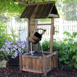 Rustic Wood Wishing Well Outdoor Fountain
