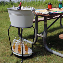 Large Ice Bucket Beverage Holder with Stand and Tray, Outdoors