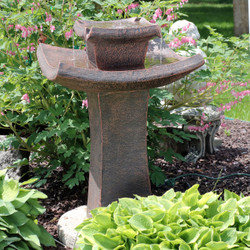 Modern Zen 2-Tier Outdoor Water Fountain