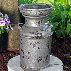 Farmhouse Vintage Milk Can Birdbath Outdoor Fountain