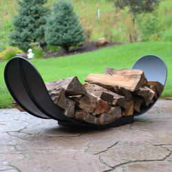 4' Curved Black Steel Outdoor Firewood Log Rack