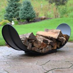 4' Curved Black Steel Outdoor Firewood Log Rack