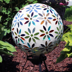 View of Multi-Colored Mosaic Flowers Gazing Globe (Please Note, Stand is Not Included)