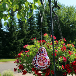 Ruby Mosaic Glass Outdoor Hanging Bird Feeder