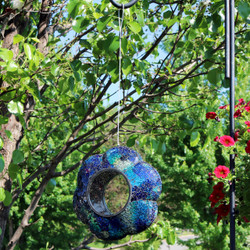 Sunnydaze Indigo Flower Fly-Through Hanging Outdoor Bird Feeder, 9-Inch