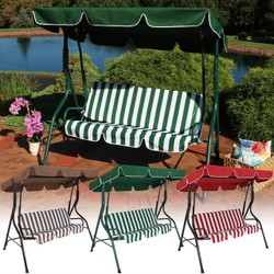 3-Person Steel Frame Adjustable Canopy Patio Swing with Striped Seat Cushion