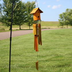 Bamboo Wind Chime with Bird House