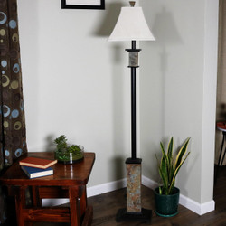 Indoor Floor Lamp with Metal and Slate Base