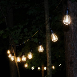 Indoor/Outdoor LED String Lights with 20 Oblong Edison Bulbs, Shown Outdoors