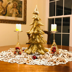 Gold Sparkling Fir Tree Statue