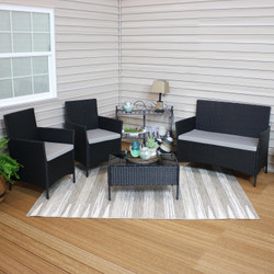 Tramore 4-Piece Gray Rattan Outdoor Patio Furniture Set