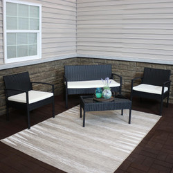 Castlebar 4-Piece Black Rattan Outdoor Patio Furniture Set