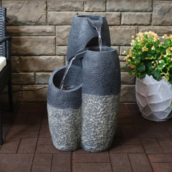 Two-Tone Staggered Basins Outdoor Water Fountain