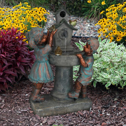 Boy and Girl with Birds at Birdbath Outdoor Water Fountain