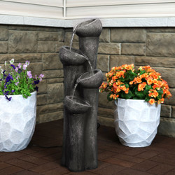 Tiered Flowing Bowls Outdoor Garden Water Fountain
