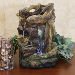 Rocky Driftwood Indoor Water Fountain with LED Light