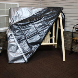 Heavy-Duty Multi-Purpose Waterproof Gray-Black Tarp Shown with Porch Swing (Porch Swing Not Included)