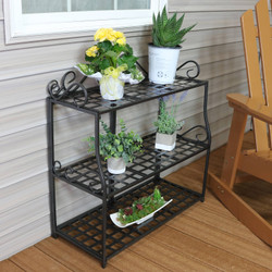 3-Tier Metal Iron Plant Stand with Decorative Scroll Design