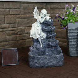 Sunnydaze Angel Falls Solar with Battery Backup Waterfall Fountain with LED Light