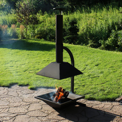 Black Steel Outdoor Wood-Burning Modern Backyard Chiminea Fire Pit