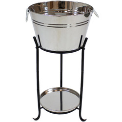 Ice Bucket Drink Cooler with Stand and Tray for Parties, Stainless Steel