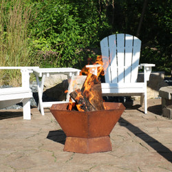 Rustic Cast Iron Hexagonal Fire Pit Bowl