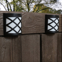 Outdoor Solar LED Wall Mount Lights, Crosshatch Design