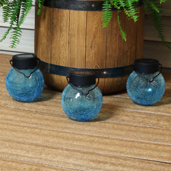 Round Blue Crackled Glass Solar Light Jar, Set of 3