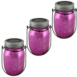 Pink Mercury Glass Solar-Powered LED Lighted Lantern Jar, Set of 3