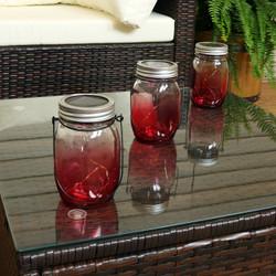 Red Ombre Solar Warm White LED Lighted Lantern Glass Jar, Set of 3