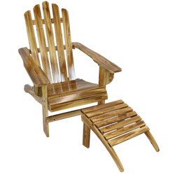 Rustic Wooden Outdoor Adirondack Chair and Ottoman Set with Light Charred Finish