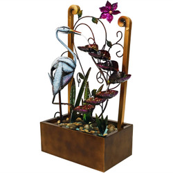 Metal Crane Tiered Waterfall Decorative Garden Outdoor Water Fountain