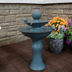 Resting Birds Ceramic 2-Tiered Outdoor Water Fountain