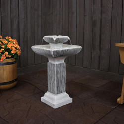 2-Tier Outdoor Bird Bath Water Fountain