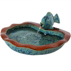 Glazed Ceramic Fish Outdoor Water Fountain Garden Decor