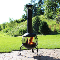 Black Steel Wood-Burning Outdoor Chiminea Fire Pit with Rain Cap