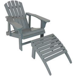 Wooden Outdoor Adirondack Chair with Adjustable Backrest and Ottoman Set, Gray