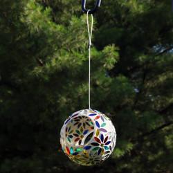 Rainbow Daisies Mosaic Glass Fly-Through Hanging Bird Feeder