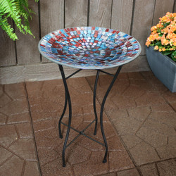 Sunnydaze Multi-Color Mosaic Tile Outdoor Bird Bath with Stand, 14-Inch Diameter