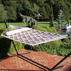 Sunnydaze 2-Person Quilted Fabric Hammock with Spreader Bars, Gold and Bronze Quatrefoil