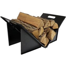 Indoor and Outdoor Folding Black Steel Log Rack