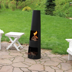 Steel Outdoor Wood Burning Chiminea Fire Pit with Built-In Log Storage