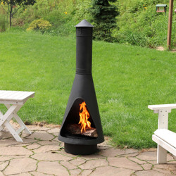 Open Access Outdoor Wood Burning Steel Chiminea