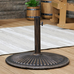 Round Cast Iron Heavy Duty Patio Umbrella Base with Ridged Design