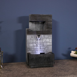 Modern Tiered Brick Wall Tabletop Indoor Water Fountain with LED Light