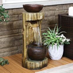 Sunnydaze Cascading Tree Stump Water Fountain with LED Lights and Planter, 35-Inch